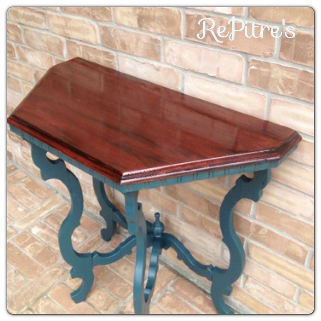 Accent Table Refinished Top In Cherry Wood And Blue Painted Legs (table  Made Out Of