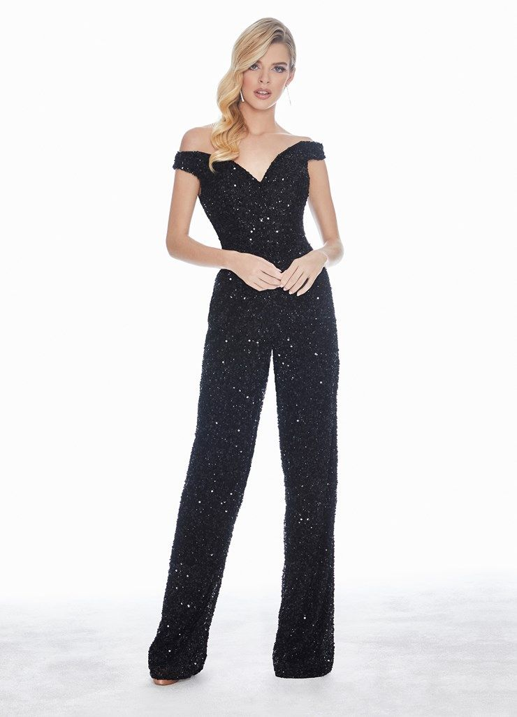 c65bf5d4d93 Ashley Lauren Fully Beaded Off Shoulder Jumpsuit