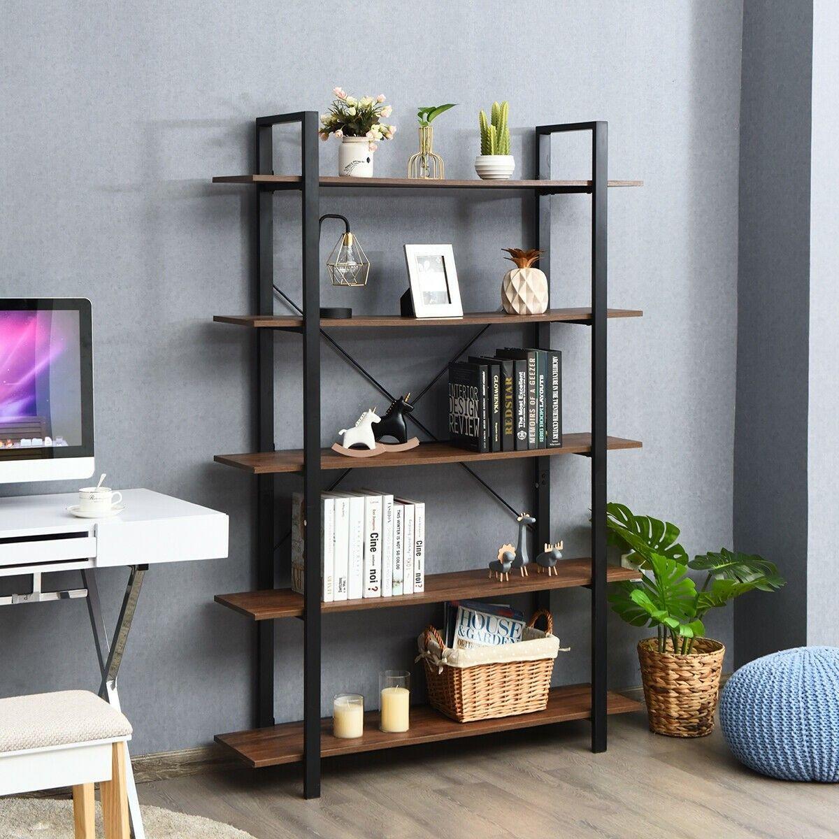 5 Tiers Bookshelf Industrial Bookcases Metal Frame Shelf Stand
