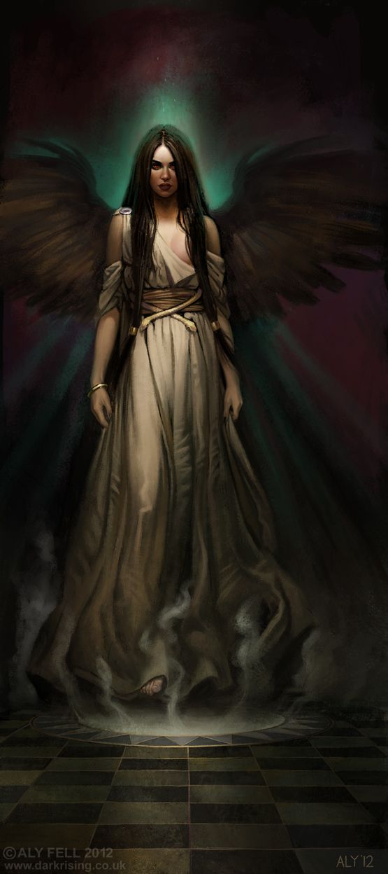 """Ligeia"" by Aly Fell (alyfell.blogspot.com)   (inspiration for Persephone, though Seph is a redhead and wears black. Love the wings, though.)"