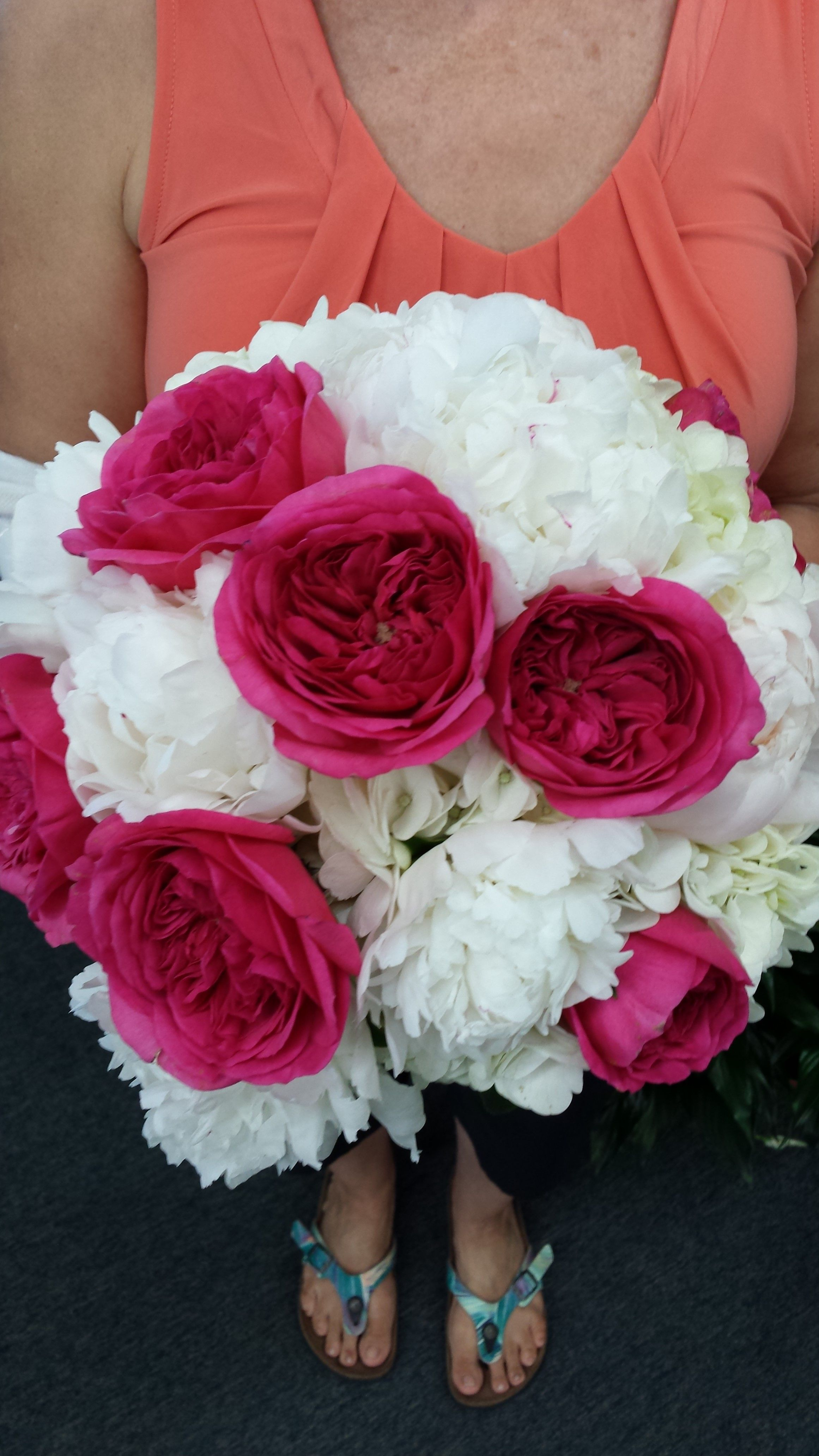 Pink Garden Rose And Hydrangea Bouquet bridal bouquet designed with white hydrangea, white peony and hot