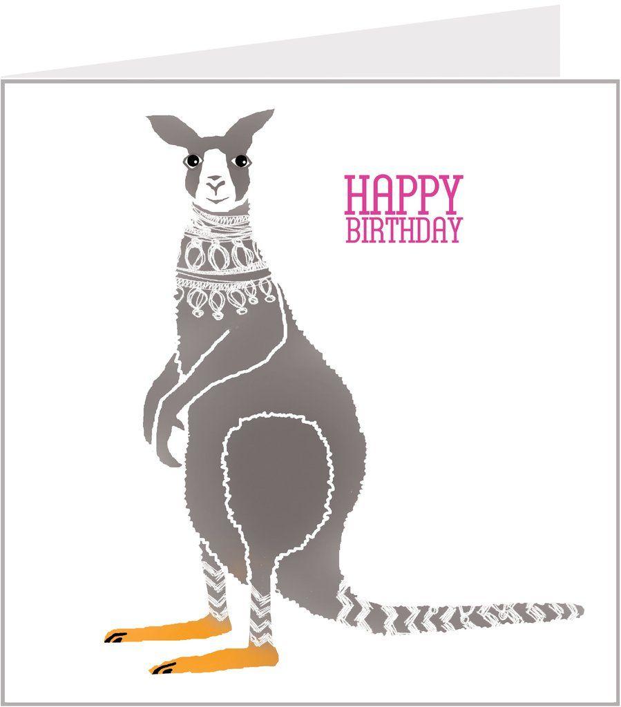Kangaroo Birthday Card Cards Cool Cards Birthday Cards