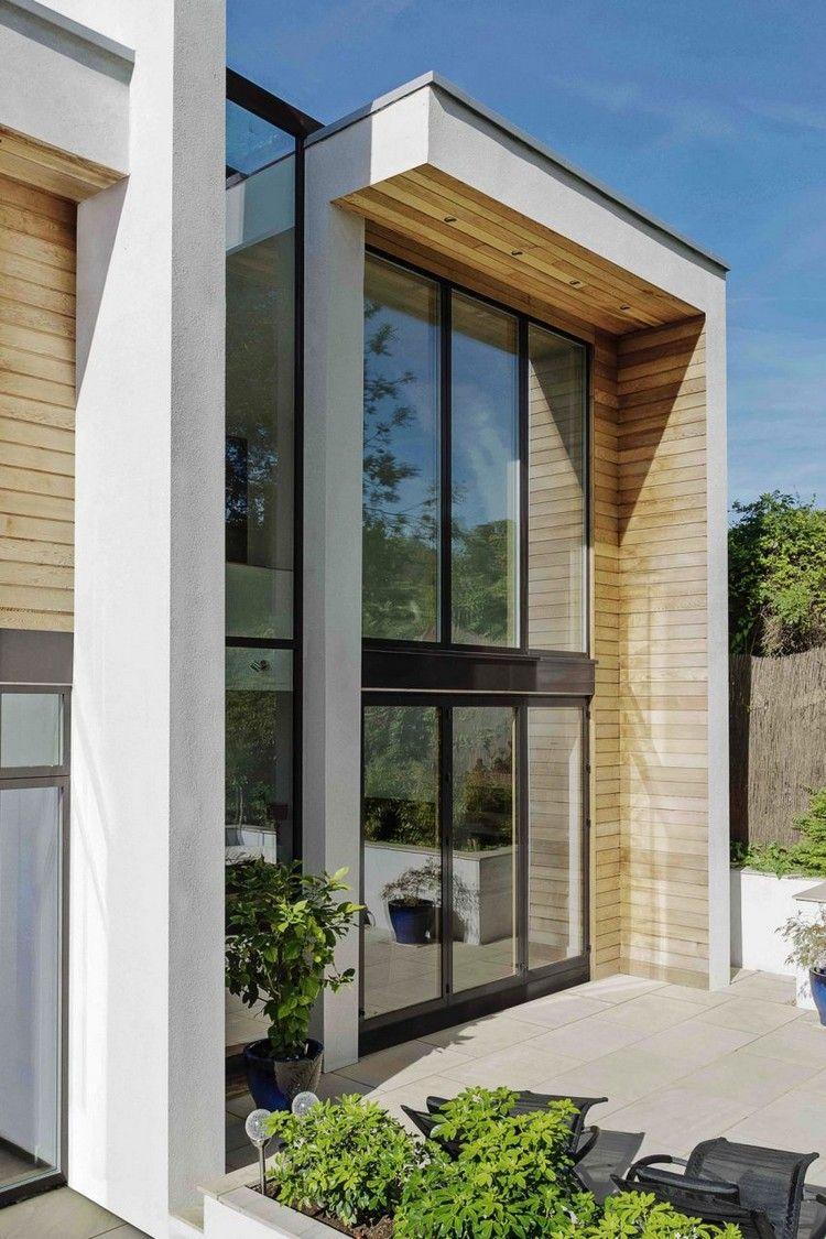 Faszinierend Hausfassade Modern Beste Wahl Moderne Mit Großen Fenstern Und Paneelen Aus