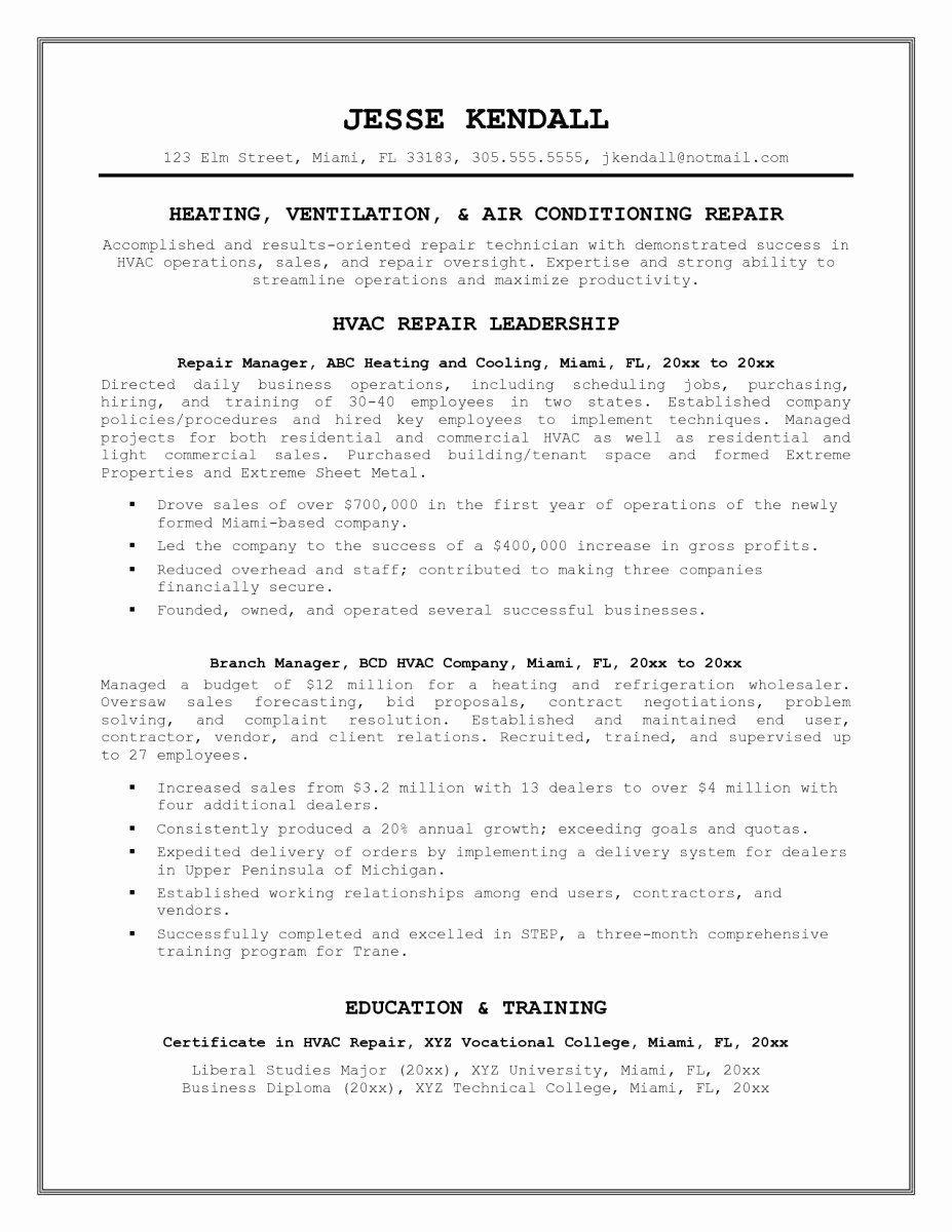 Cover Letter format Uf Elegant 23 New Hvac Resume Examples