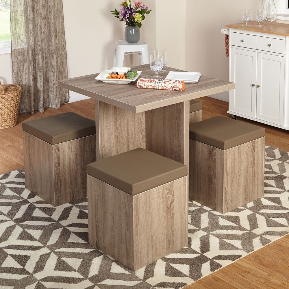 Details About Compact Dining Set Studio Apartment Storage Ottomans