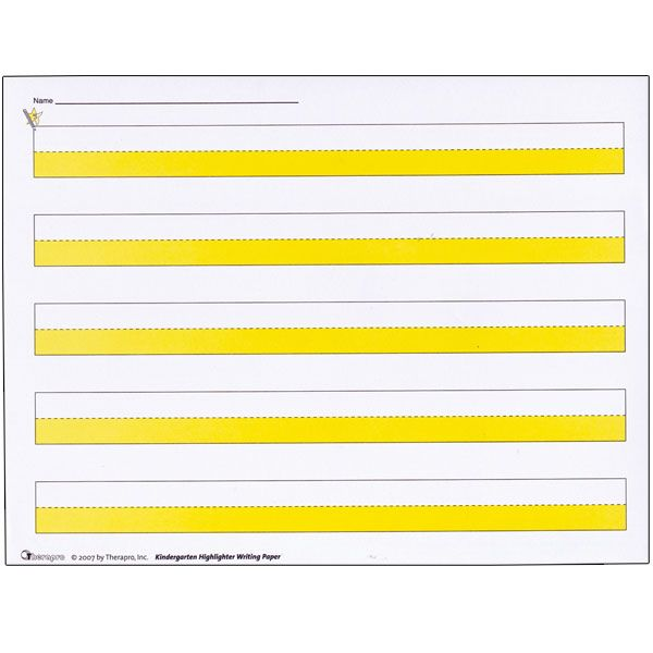 Kindergarten Highlighter Writing Paper -Package of 50 Writing