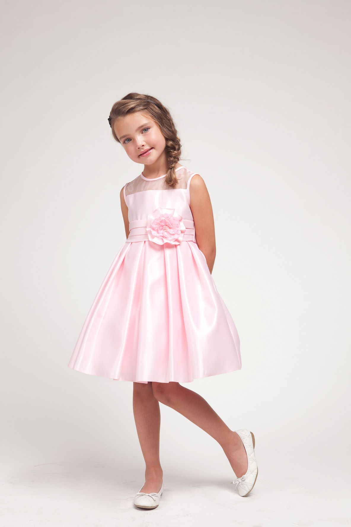 amelia pink flower girl dress elegant satin or party Maya chooses ...