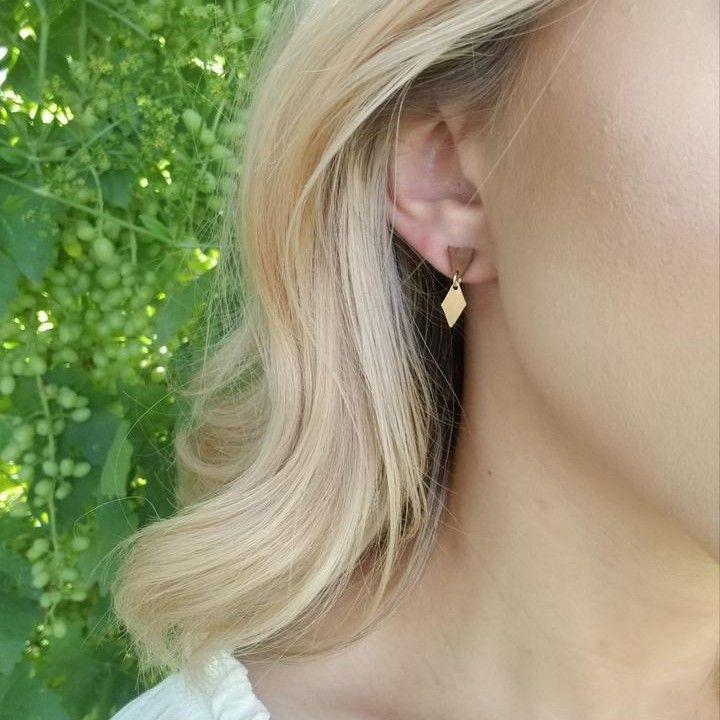 Leather + Brass Geometric Minimal Earrings #utahusa