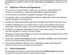 Service Level Agreement Template For Word  Employee Engagement