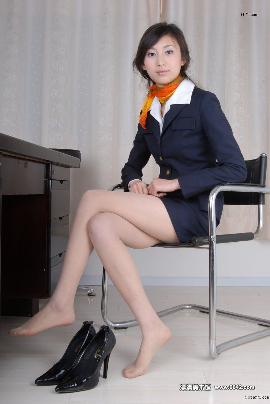 Japanese putting on pantyhose