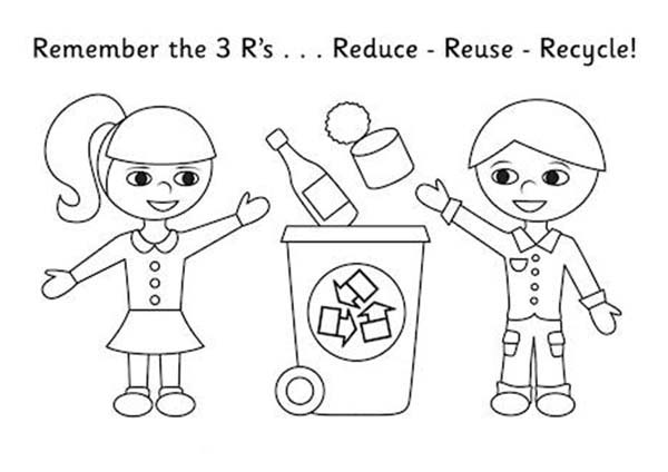 Kids Collecting Recycling Waste Coloring Page : Coloring