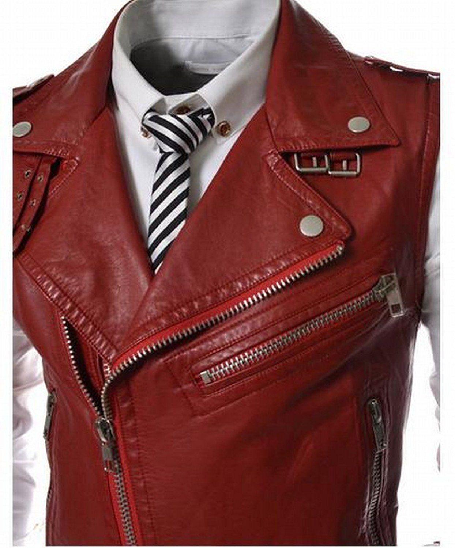xiaokong Men's Solid Zipper Faux Leather Lapel Outerwear