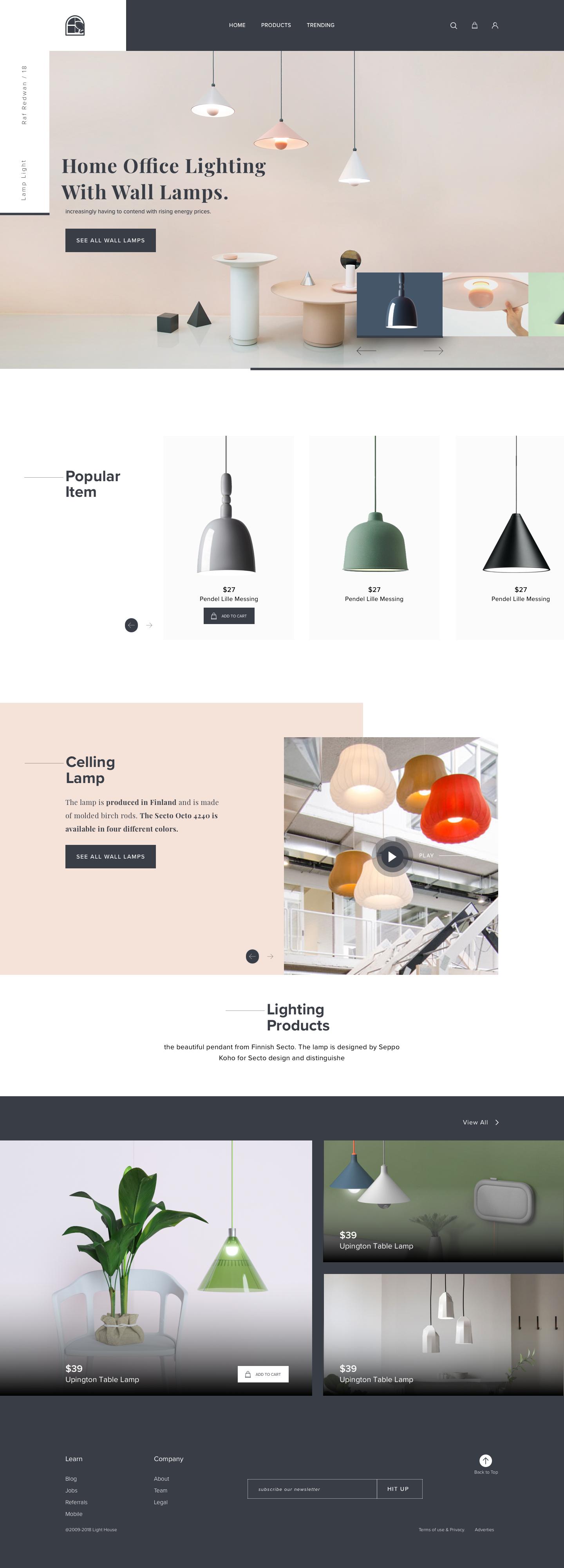 Lamp Light Landing Page Ecommerce Web Design Web Design Website Design