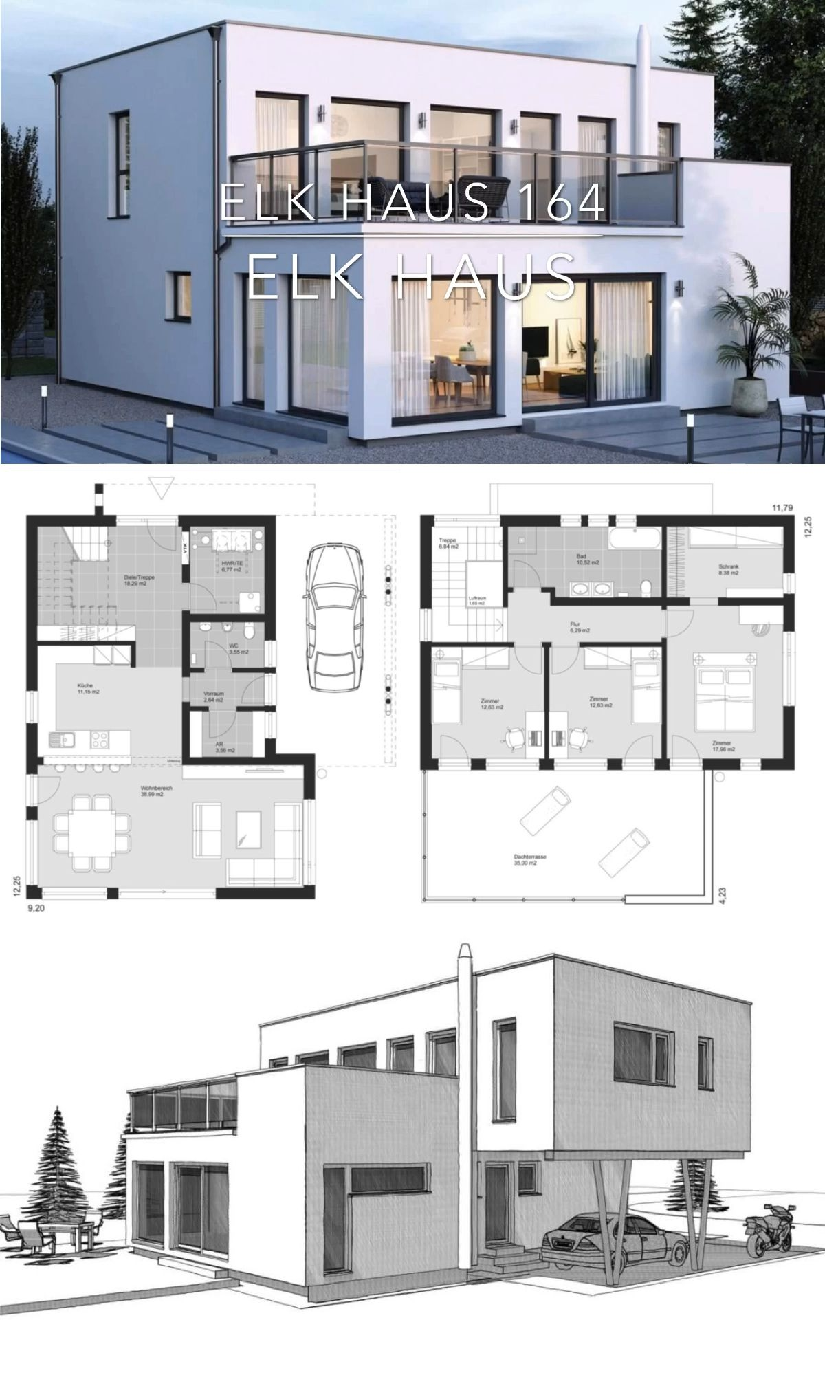 Modern Luxury Villa House Plan & Bauhaus Architecture Design Ideas - ELK Haus 164 #garageplans