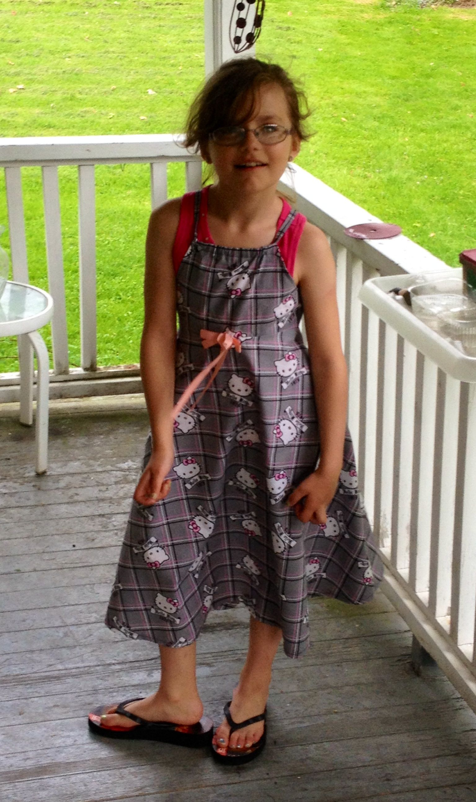 Emma wearing the first dress I've ever sewn