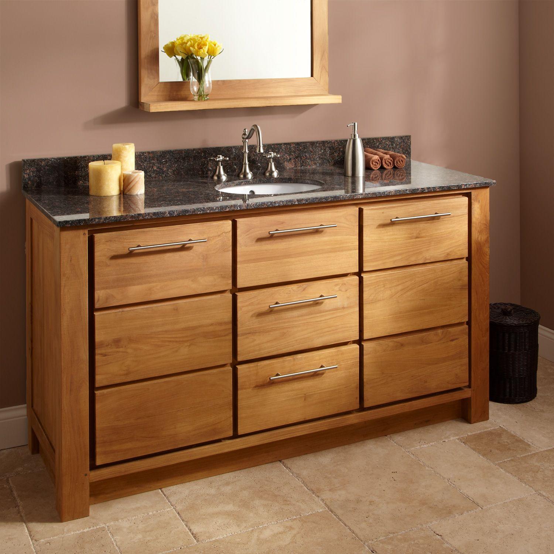 Venica Teak Vanity Cabinet With Undermount Sinkwith Different - Teak bathroom vanity cabinets