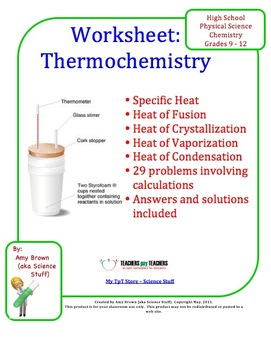 Thermochemistry Practice Problems. This worksheet consists of 29 ...