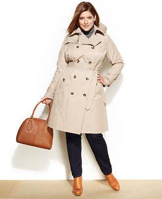 47d8d8a7ca2 London Fog Plus Size Hooded Trench Coat - Coats - Women - Macy s ...