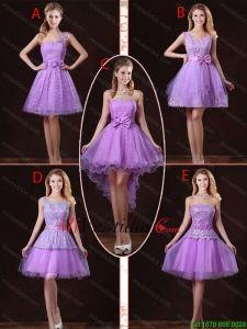 888c7f0537 2016 populares atado lila vestidos de dama de honor con una línea ...