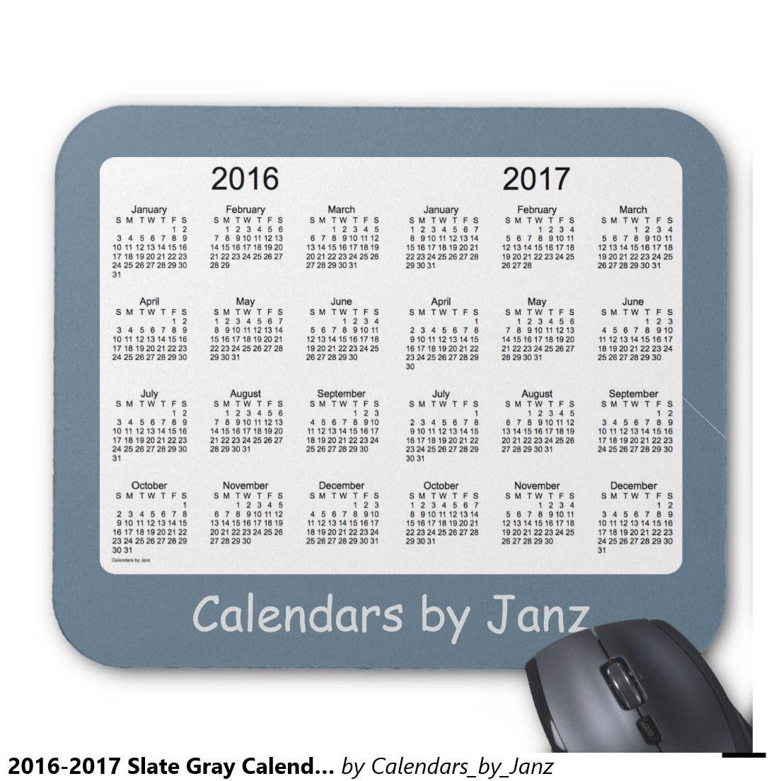 2016-2017 Slate Gray Calendar by Janz Mousepad
