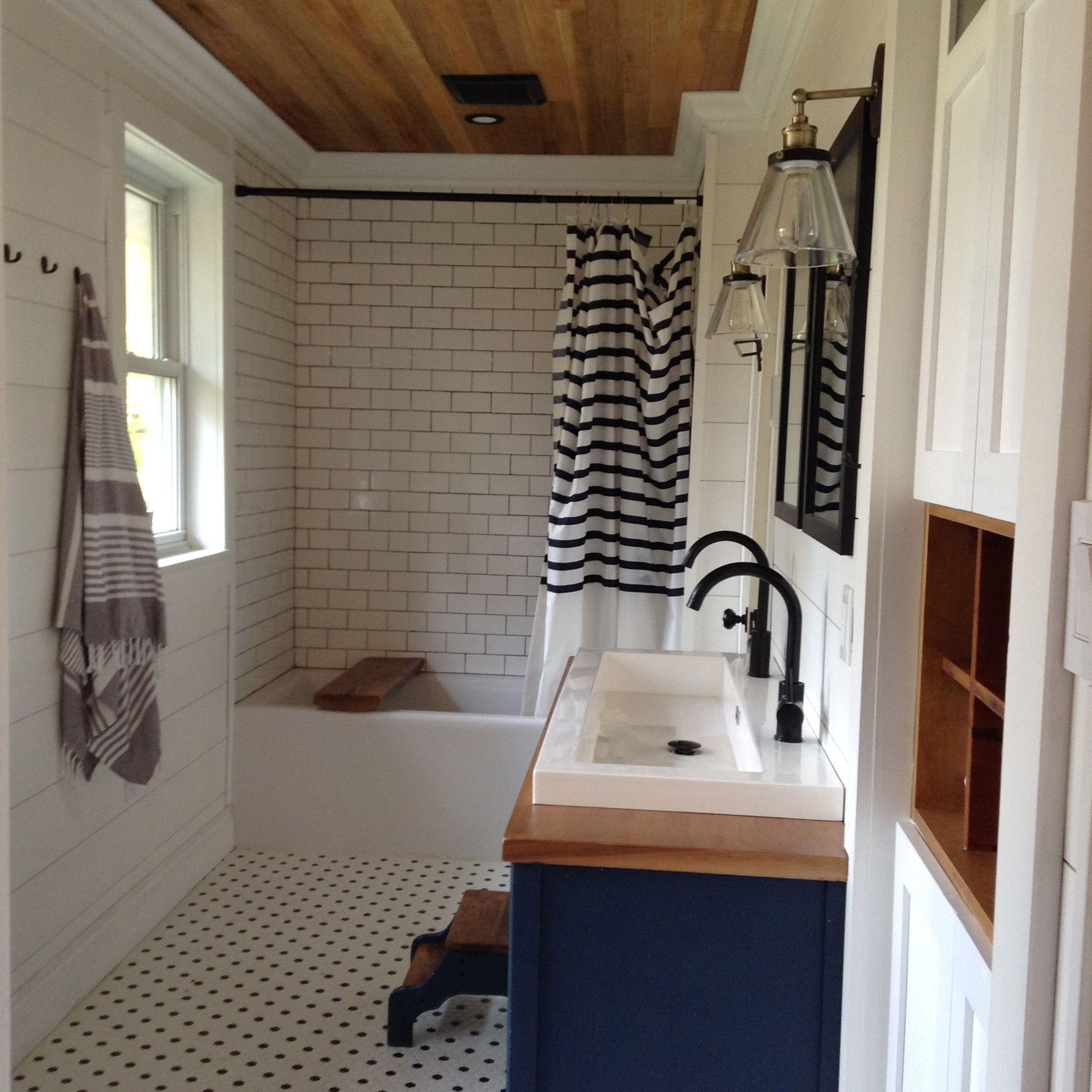 Cedar Ceiling White Shiplap Open Double Sink Black Fixtures Basement Bathroom Design Lake House Bathroom White Shiplap