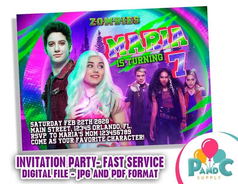 Zombie 2 Invitation Birthday Party Disney Zombie 2 Etsy Zombie Disney Zombie Birthday Parties Disney Halloween Parties