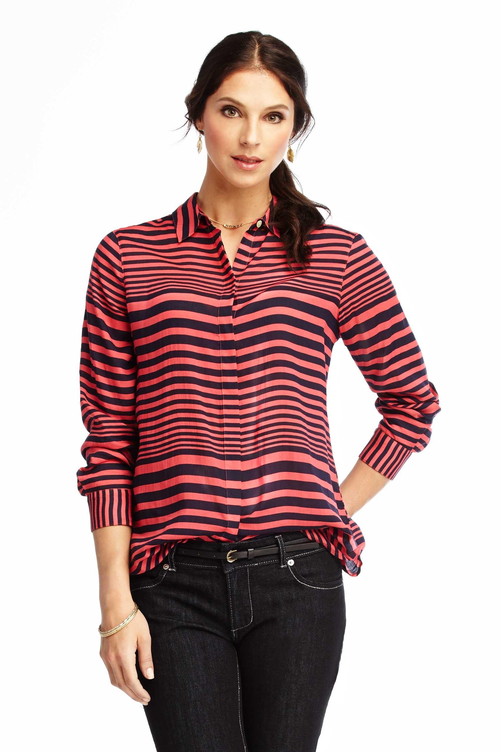 ee4379ea72 Foxcroft Wrinkle Free Horizontal Stripe Blouse