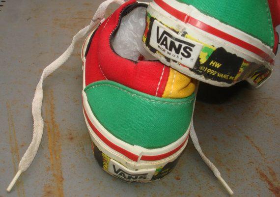 c23989b0aba Vintage Old School Original Vans Sneakers Skate Shoes Rasta Waffle ...