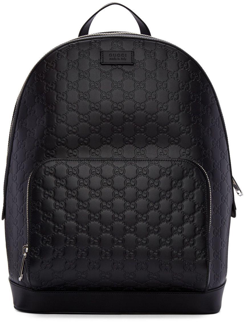 31f03ece925 Gucci - Black Leather Signature Backpack 1690 EUR.