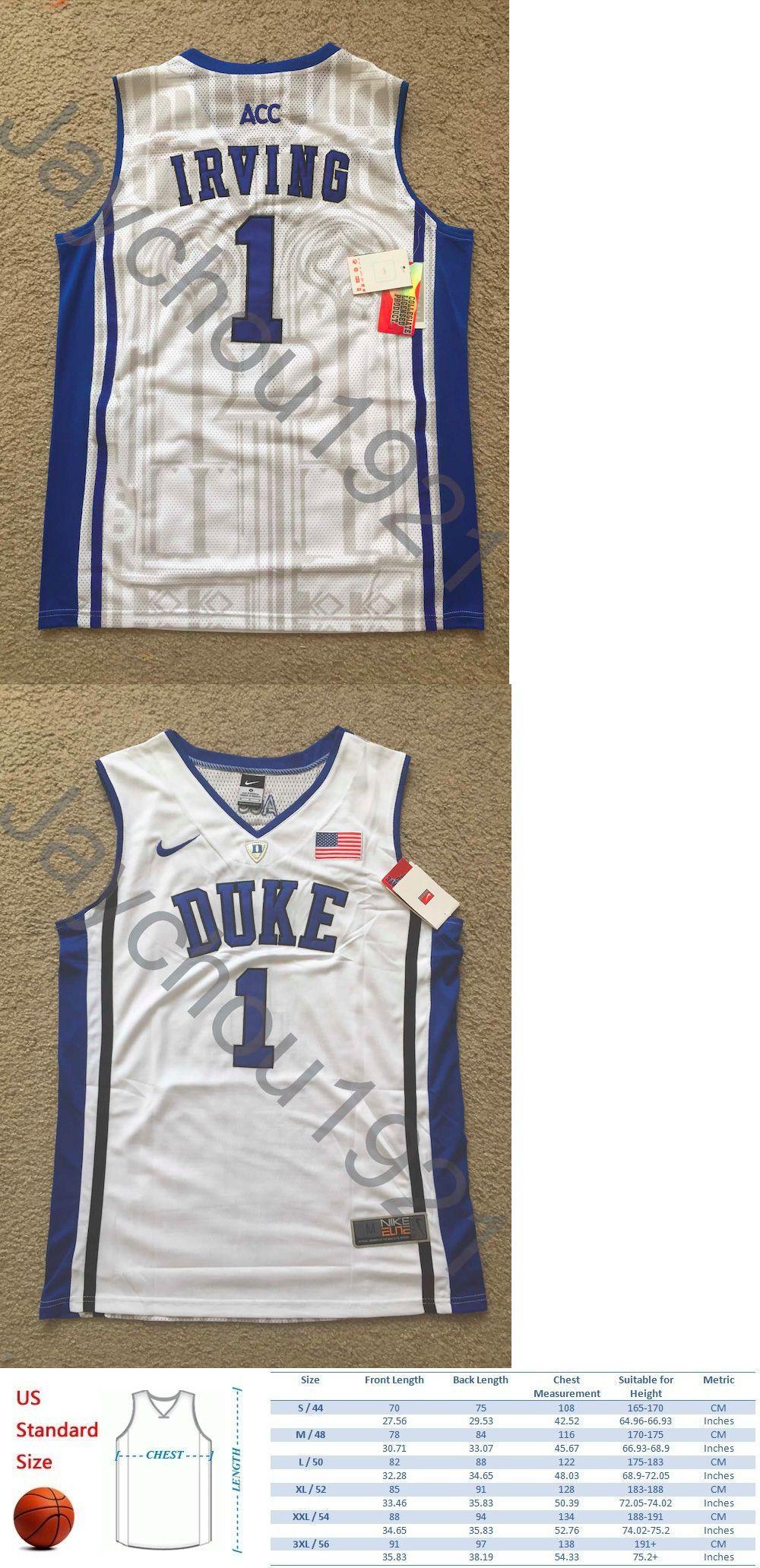 227744fd7d3 authentic basketball nba 24442 rare kyrie irving duke blue devil swingman  sewn on white jersey e6fef