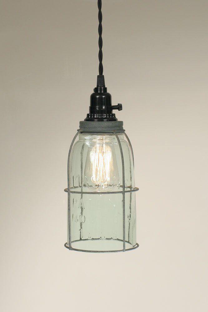 Half gallon caged mason jar pendant lamp pendant lamps barn and half gallon caged mason jar pendant lamp aloadofball Images