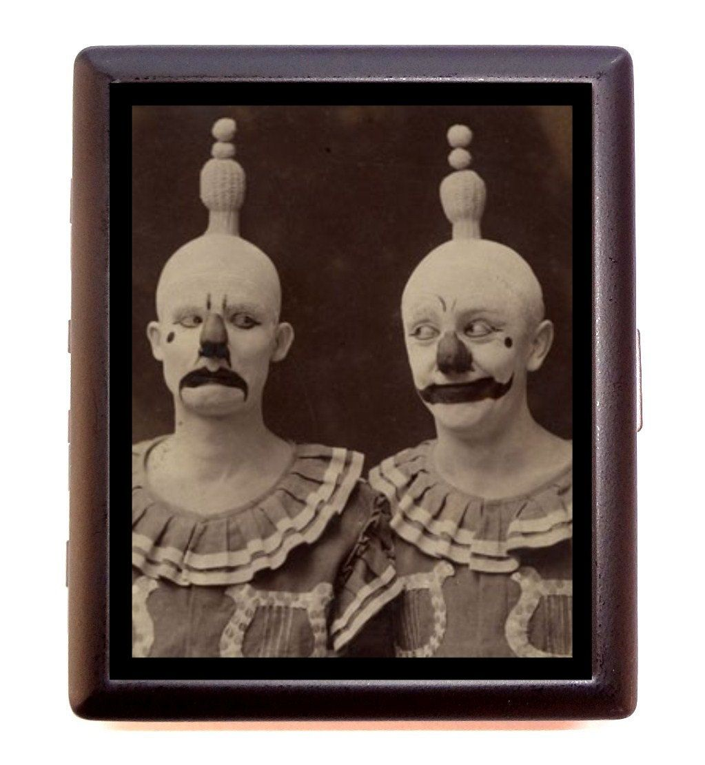 Circus Clown Cigarette Case Grumpy Clowns Art Deco Roaring 20\'s Jazz ...