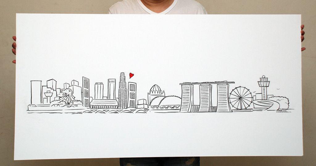 Singapore Skyline Illustration Cerca Con Google Singapore Art Travel Posters Travel Scrapbook