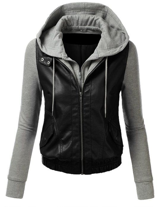 89aac33a0bf TL Womens Faux Leather Zip Up Moto Cropped Bomber Jacket With Hoodie ...