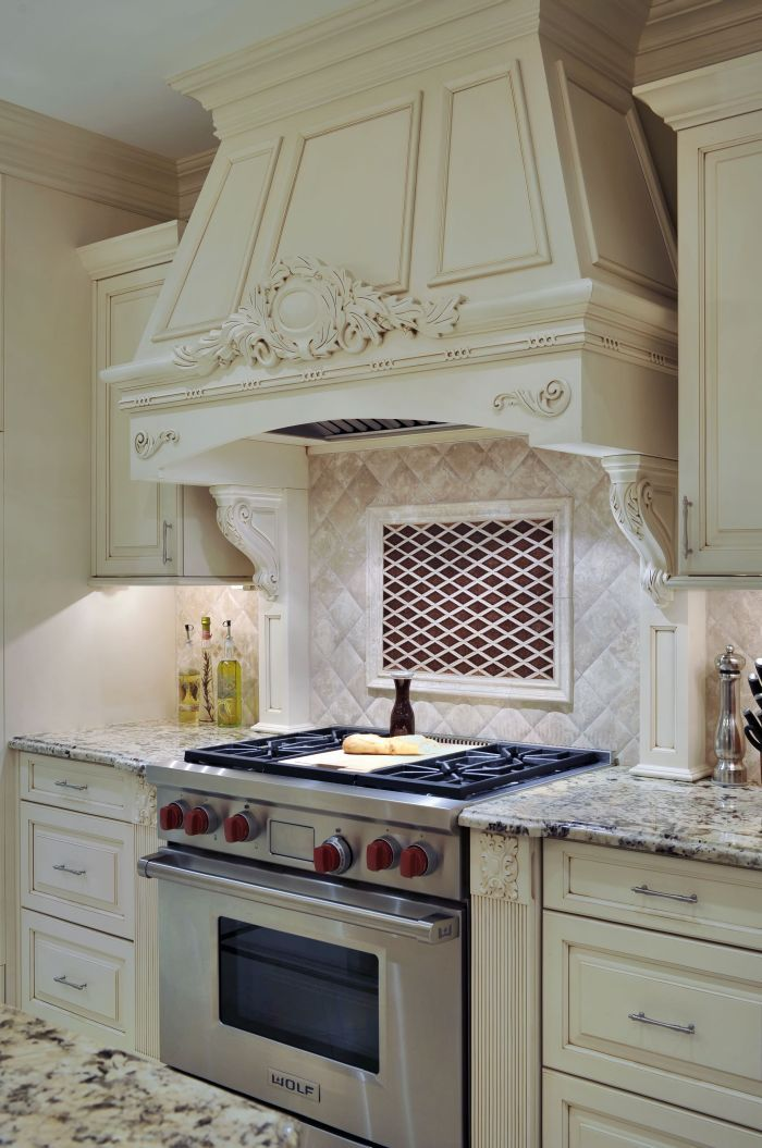 Custom Stone Hood With Wolf Range Kitchen Backsplash Countertop Design Beautiful Kitchens