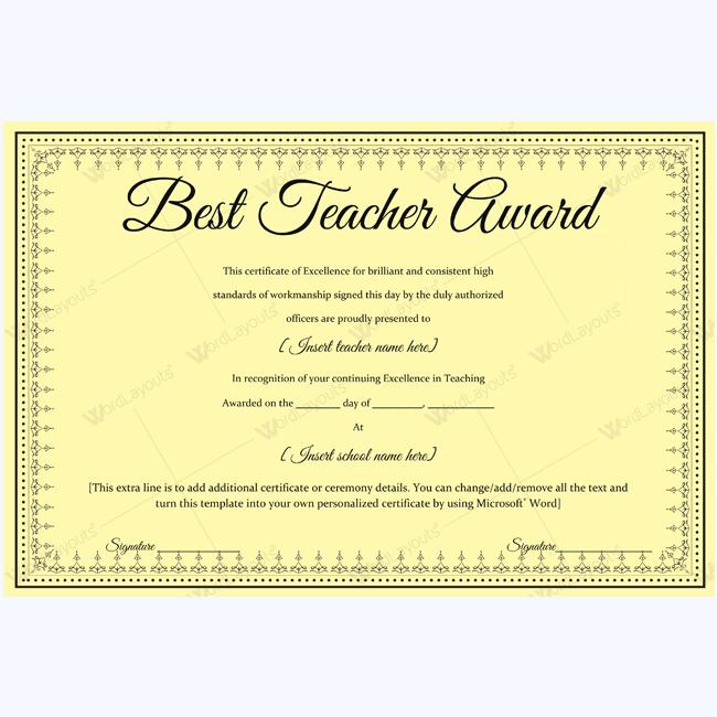 Best Teacher Certificate Templates Free Teacher Awards Award Template Best Teacher