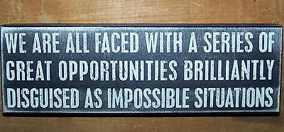 """ GREAT OPPORTUNITIES "" Wood Wooden Box Sign Home Gift Primitives by Kathy PBK"