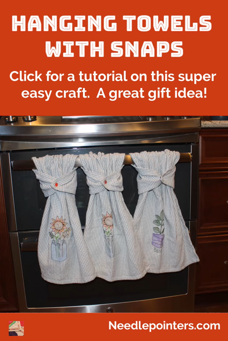 Learn how to make any hand towel into a hanging towel by adding Kam snaps. This is a simple no sewing required way to convert a towel so it will hang and not fall on the floor.
