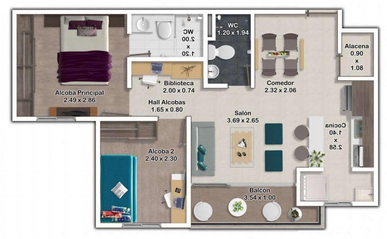 Planos De Departamentos De 45 Metros Cuadrados Jpg 1 236 765 Pixeles Planos Planos De Apartamentos Departamentos Modernos
