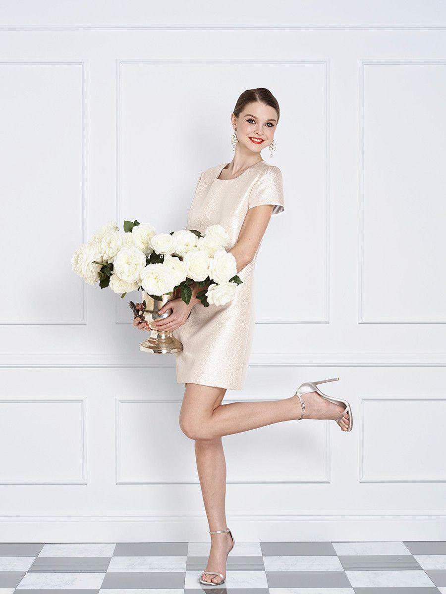 Elegant short wedding dresses  Champagne Pink Short Sleeve Cocktail and Wedding Dress  Fashion