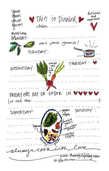 Free Handpainted Weekly Menu Planner from wwwtheartfullifeblog