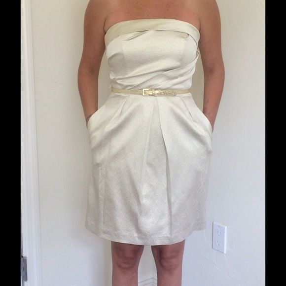 Selling this David's bridal gold strapless with belt in my Poshmark closet! My username is: mechesoto. #shopmycloset #poshmark #fashion #shopping #style #forsale #David's Bridal #Dresses