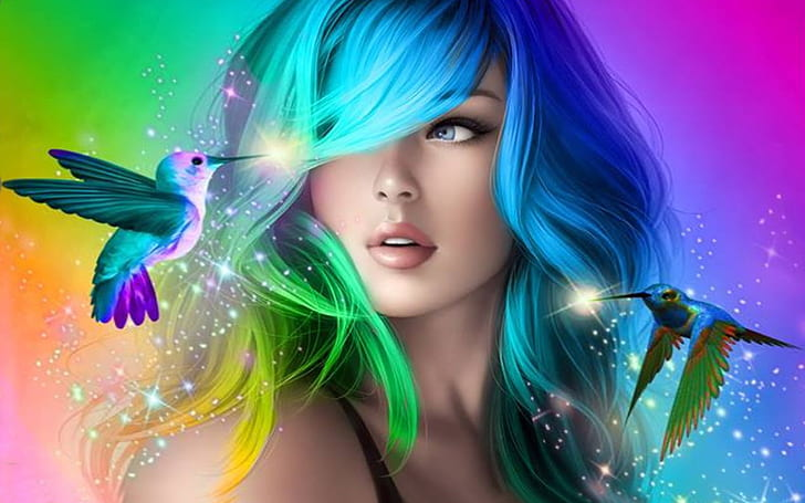 Hd Wallpaper Beautiful Girl With Colorful Hair Desktop Wallpaper Hd For Mobile Phones And Laptops Wallpaper Flare Fantasy Girl Avatar Picture Hair Color