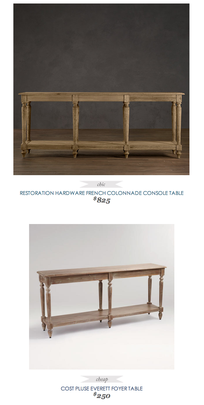 Copy Cat Chic Find Restoration Hardware French Colonnade Console Table Vs Cost Plus Everett Dream House Decor Console Table Living Room Restoration Hardware