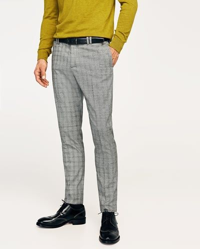 Pantalon Traje Cuadros Gris Tailored Pantalones Hombre Zara Espana Pantalones De Cuadros Hombre Pantalon Gris Hombre Ropa Formal Hombre