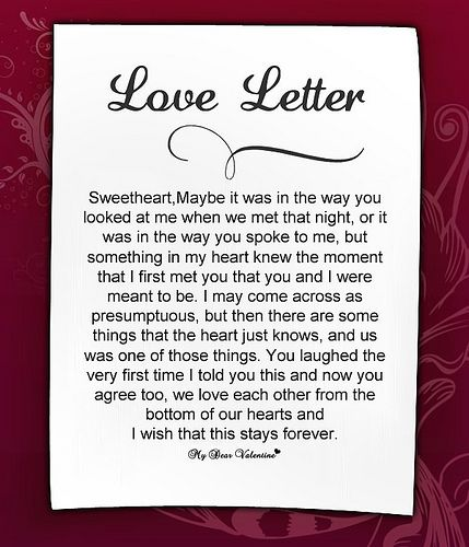 Free Romantic Love Letters For Her