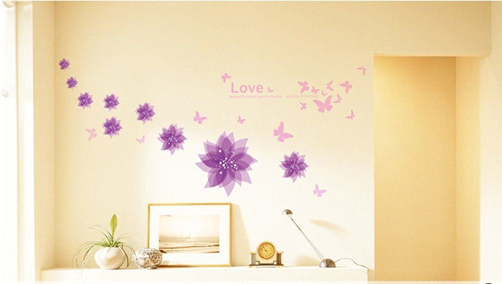 Amazon.com: Amaonm® Nursery Flowers Butterfly Wall Decals Quotes ...