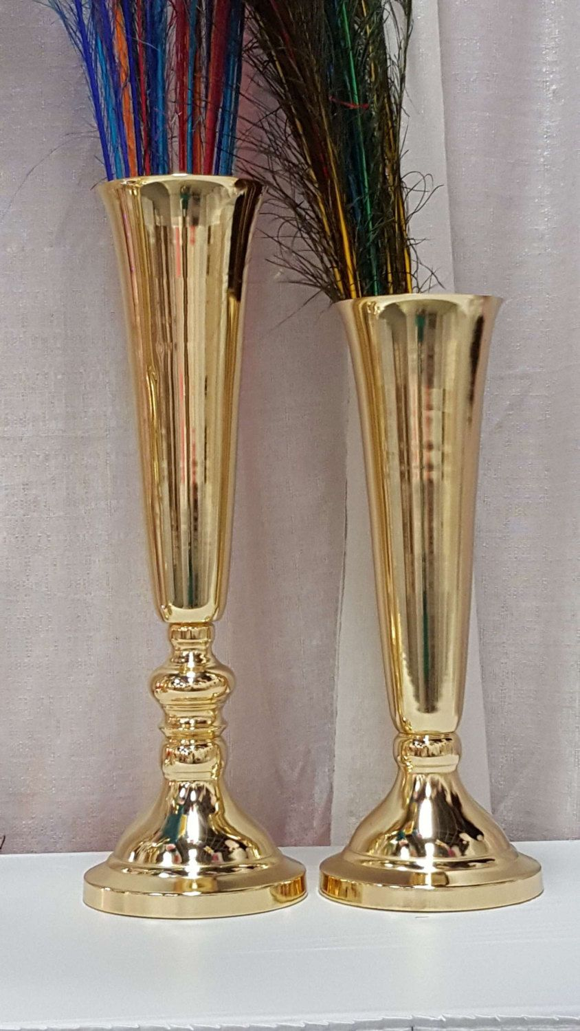 Gold polished tall metallic trumpet vases wedding centerpieces gold polished tall metallic trumpet vases wedding centerpieces vases french gold 20 inches 24 inches reviewsmspy