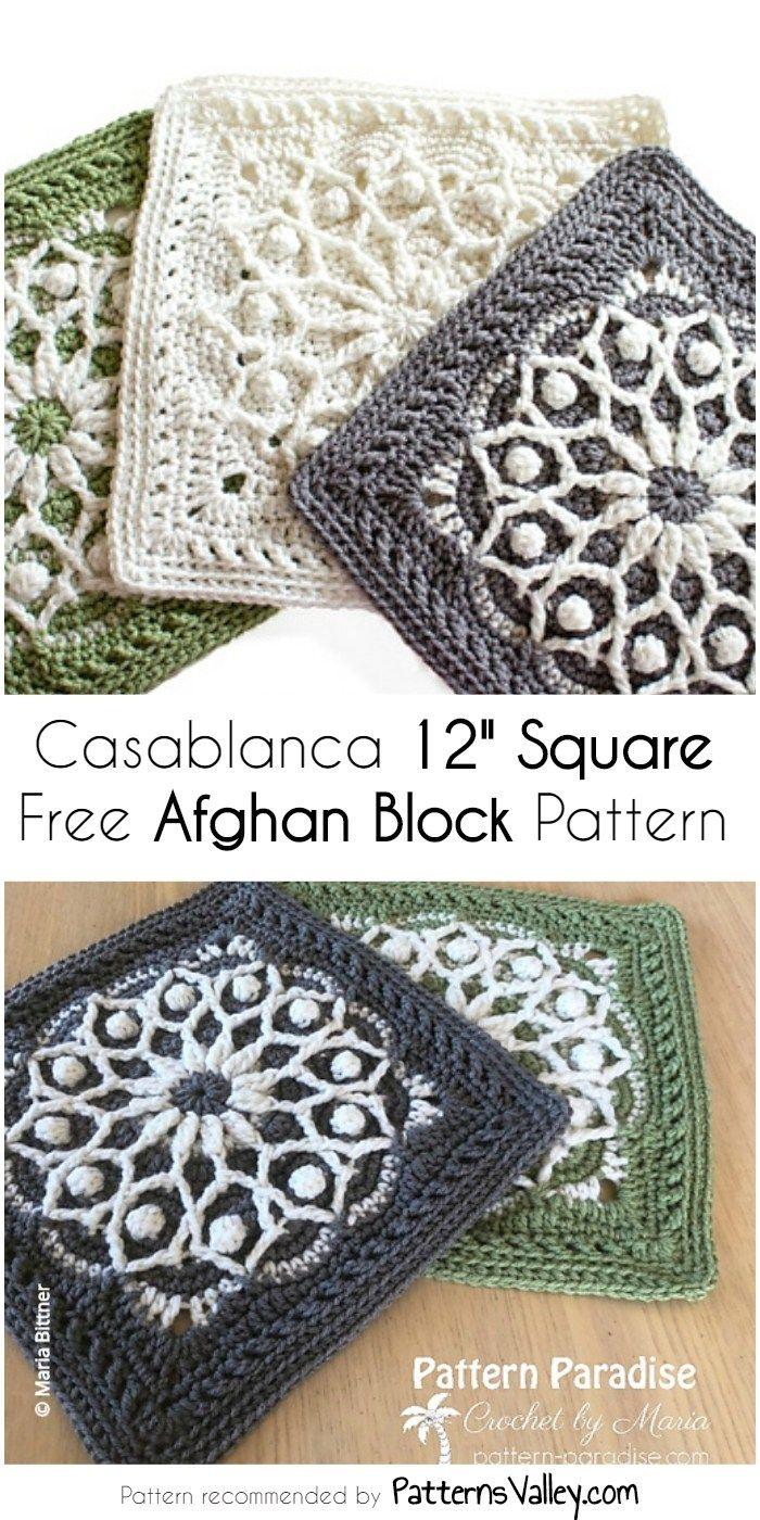 Patrón de cuadra afgano libre de Casablanca 12 cuadrados | crochet ...