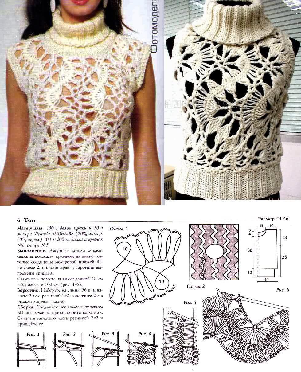 Patrones Crochet: Top Cuello Alto sin Mangas Patron | Crochet Charts ...